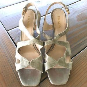 Prada wedge sandals sz 8 (38) gray
